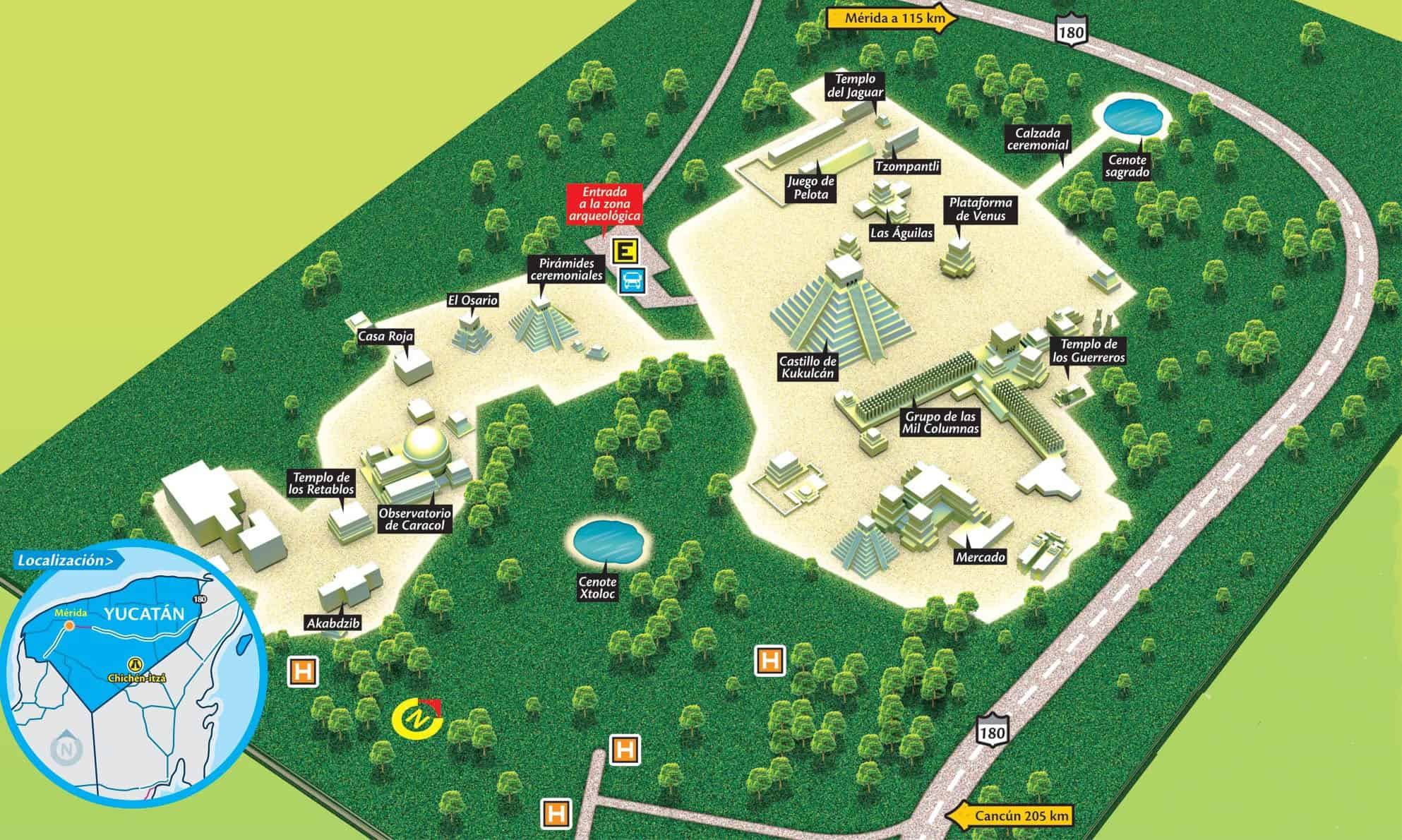 Mapa da zona arqueológica do Chichén Itzá